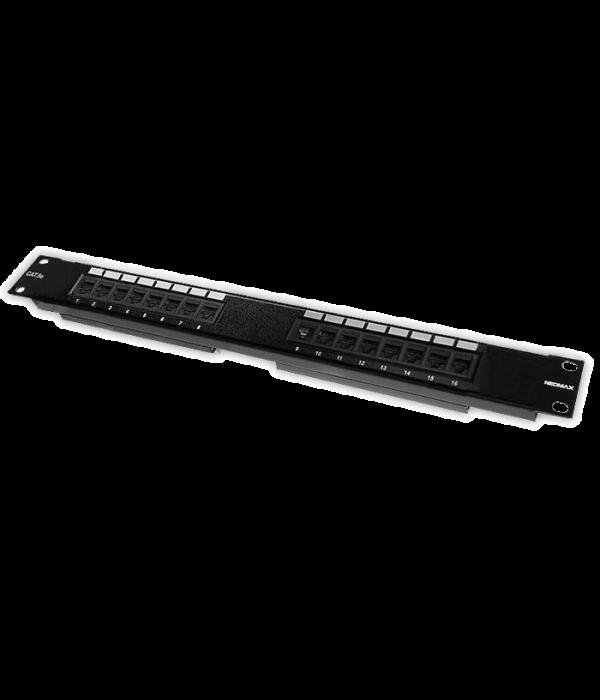 """Neomax Коммутационная панель UTP, 16 портов RJ-45 cat.5e 19""""  ( EPLH160X) - Патч-панель"""