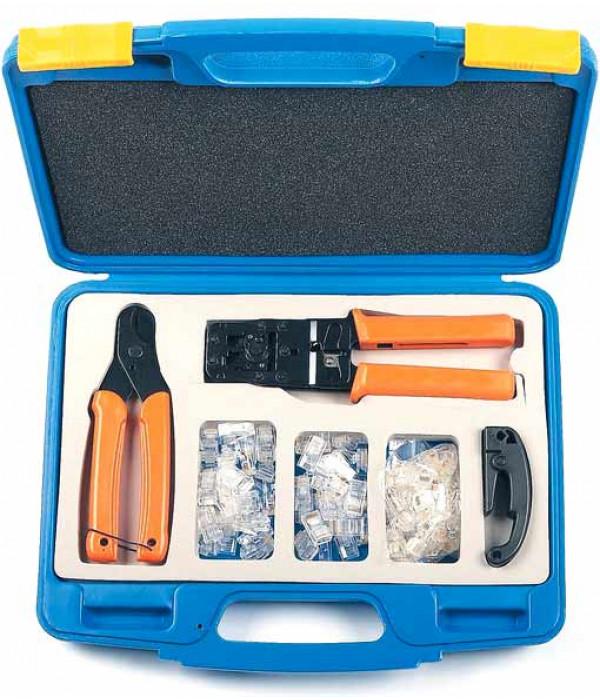 Hyperline HL-NTK100 Набор инструментов (инструмент обжимной для RJ-45, RJ-12, обрезка, зачистка, 50х8P8C, 50x6P6C) -