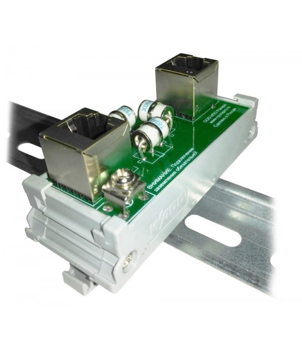 Грозозащита портов ethernet 10/100мбит. монтаж на DIN рейку SOSNA-100-DIN - Грозозащита