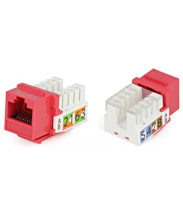 Hyperline KJ2-8P8C-C5e-90-RD Вставка Keystone Jack RJ-45(8P8C), категория 5e, Dual IDC, красная -