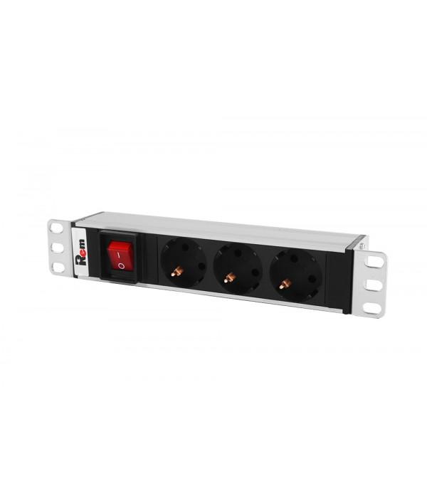 "ЦМО Блок розеток Rem-10 без шнура с выкл., 3 Schuko, вход IEC 60320 C14, 10A, алюм., 10 (R-10-3S-V-220-Z)"" - Блок розеток 220в силовых 19"""