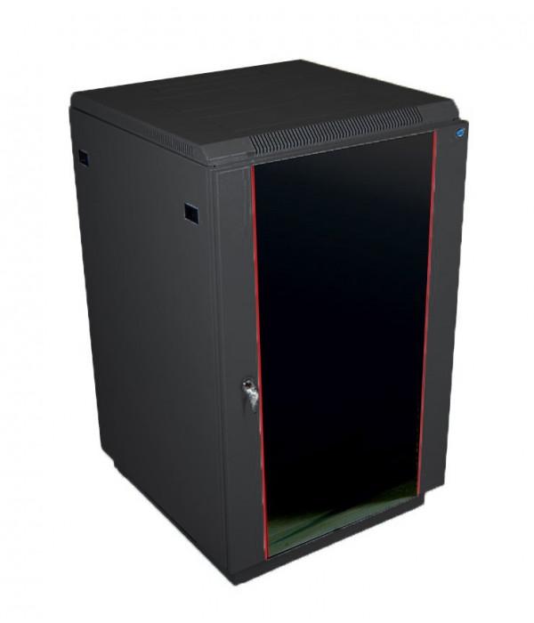 ЦМО! Шкаф телеком. напольный 18U (600x600) дверь стекло, цвет чёрный (ШТК-М-18.6.6-1ААА-9005) (2 коробки) - Телекоммуникационные шкафы, ящики
