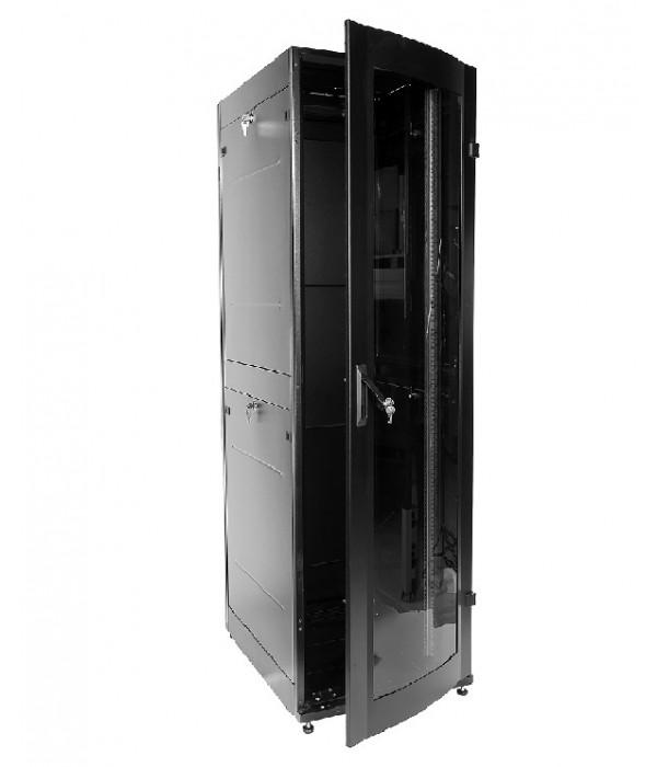 ЦМО! Шкаф телеком. напольный ПРОФ универсальный 42U (600x1000) дверь стекло, чёрный, в сборе (ШТК-МП-42.6.10-1ААА-9005) - Телекоммуникационные шкафы, ящики
