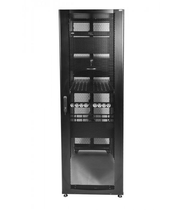 ЦМО! Шкаф серверный ПРОФ напольный 48U (600x1000) дверь перфорированная 2 шт., цвет черный, в сборе (ШТК-СП-48.6.10-44АА-9005) (1 коробка) - Телекоммуникационные шкафы, ящики