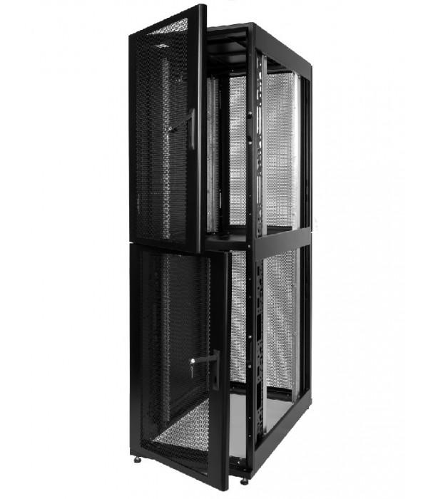 ЦМО! Шкаф серверный ПРОФ напольный колокейшн 46U (600x1200) 2 секции, дверь перфор. 2 шт., черный, в сборе (ШТК-СП-К-2-46.6.12-44АА-Ч) - Телекоммуникационные шкафы, ящики