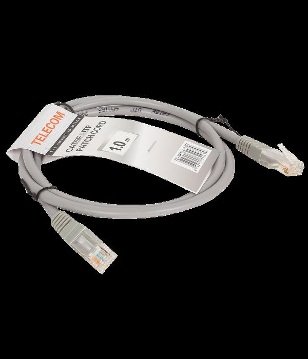 Патчкорд литой  Telecom NA102--1M UTP CAT5E серый 1M - Патчкорд медный