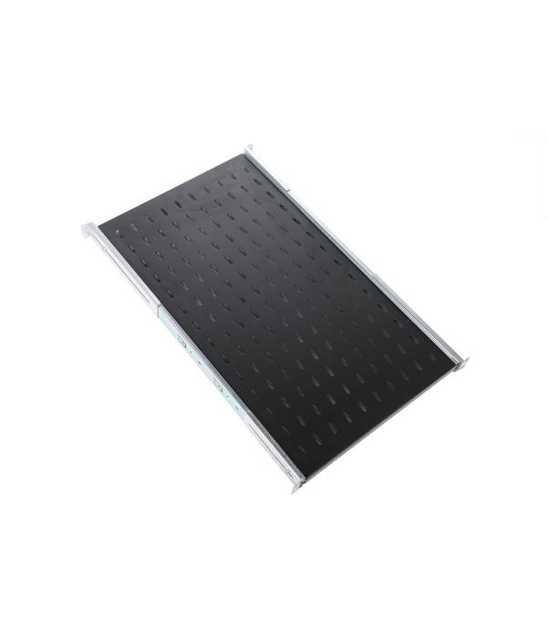 ЦМО Полка перфорированная выдвижная с телескопическими направляющими, глубина 450 мм, цвет черный (ТСВ-45-9005) - Аксессуар для коммуникационных шкафов