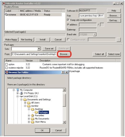 Реанимация MikroTik (RouterOS) с помощью NetInstall